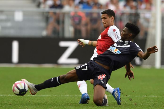 Monaco's Portuguese midfielder Rony Lopes (L) vies with Bordeaux's French midfielder Aurelien Tchouameni during the French L1 football match between Bordeaux and Monaco on August 26, 2018 at the Matmut Atlantique stadium in Bordeaux, southwestern France. (Photo by NICOLAS TUCAT / AFP) (Photo credit should read NICOLAS TUCAT/AFP via Getty Images)