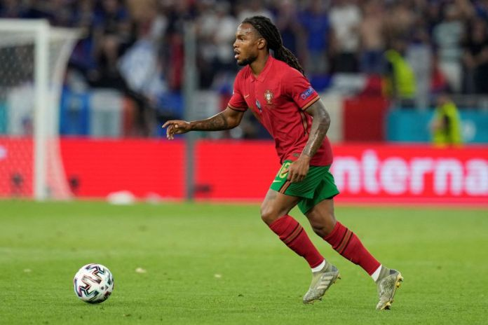 Portugal's midfielder Renato Sanches kicks the ball during the UEFA EURO 2020 Group F football match between Portugal and France at Puskas Arena in Budapest on June 23, 2021. (Photo by Darko Bandic / POOL / AFP) (Photo by DARKO BANDIC/POOL/AFP via Getty Images)