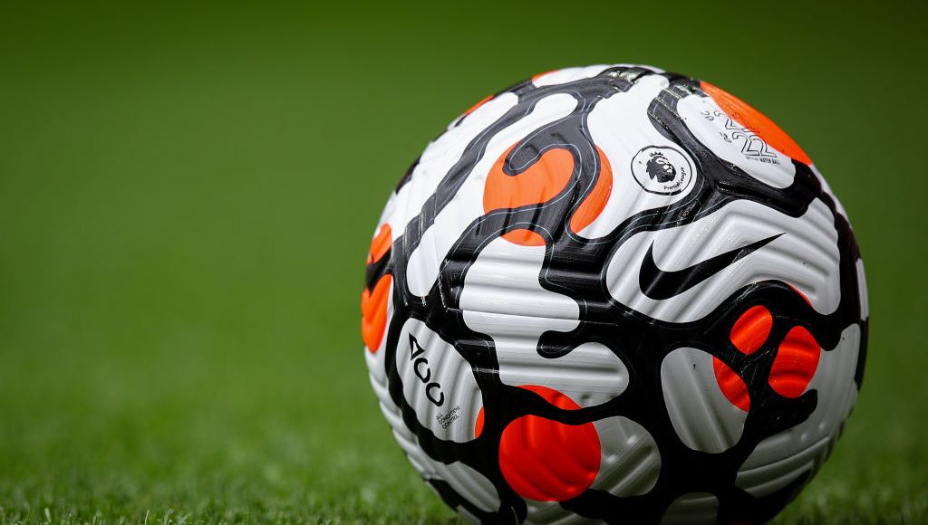 LIVERPOOL, ENGLAND - AUGUST 08: Official Premier League Nike Strike Aerowsculpt 21/22 match ball during the Pre-Season Friendly fixture between Liverpool and Athletic Club at Anfield on August 8, 2021 in Liverpool, England. (Photo by Robbie Jay Barratt - AMA/Getty Images)