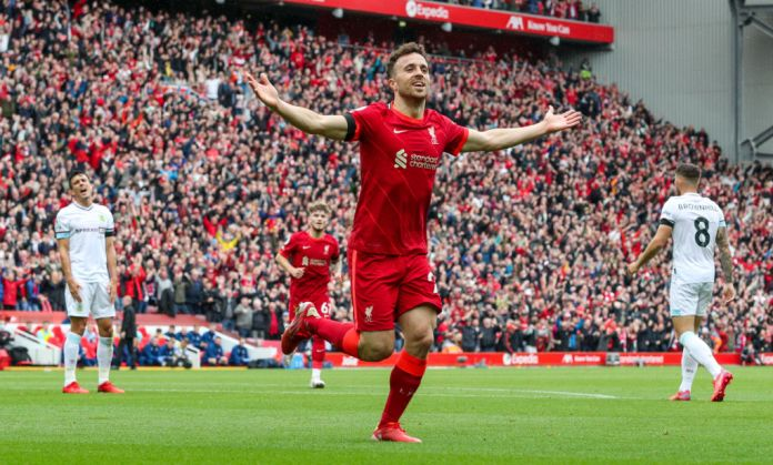 LIVERPOOL, ENGLAND - AUGUST 21: Liverpool's Diogo Jota celebrates scoring the opening goal during the Premier League match between Liverpool and Burnley at Anfield on August 21, 2021 in Liverpool, England. (Photo by Alex Dodd - CameraSport via Getty Images)