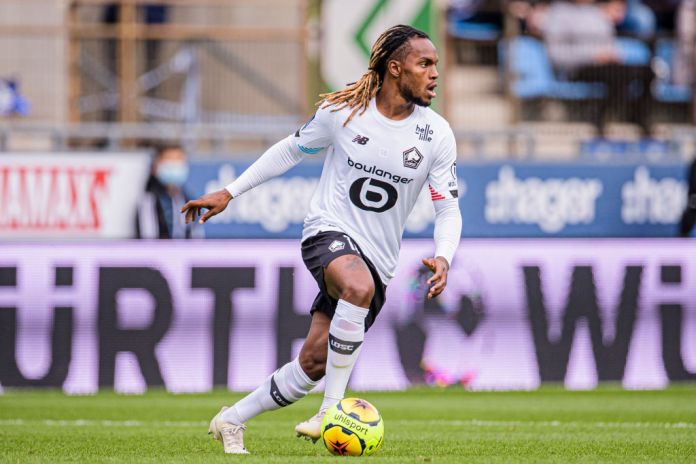 STRASBOURG, FRANCE - OCTOBER 04: Renato Sanches of Lille in action during the Ligue 1 match between RC Strasbourg and Lille OSC at Stade de la Meinau on October 4, 2020 in Strasbourg, France. (Photo by Marcio Machado/Eurasia Sport Images/Getty Images)