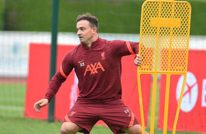 UNSPECIFIED, AUSTRIA - AUGUST 01: (THE SUN OUT. THE SUN ON SUNDAY OUT) Xherdan Shaqiri of Liverpool during a training session on August 01, 2021 in UNSPECIFIED, France. (Photo by John Powell/Liverpool FC via Getty Images)