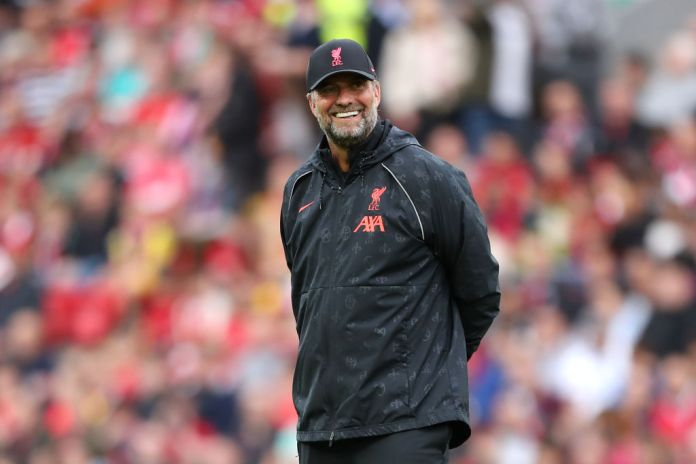 LIVERPOOL, ENGLAND - AUGUST 09: Jurgen Klopp, Manager of Liverpool reacts prior to the Pre-Season Friendly match between Liverpool and Osasuna at Anfield on August 09, 2021 in Liverpool, England. (Photo by Lewis Storey/Getty Images)