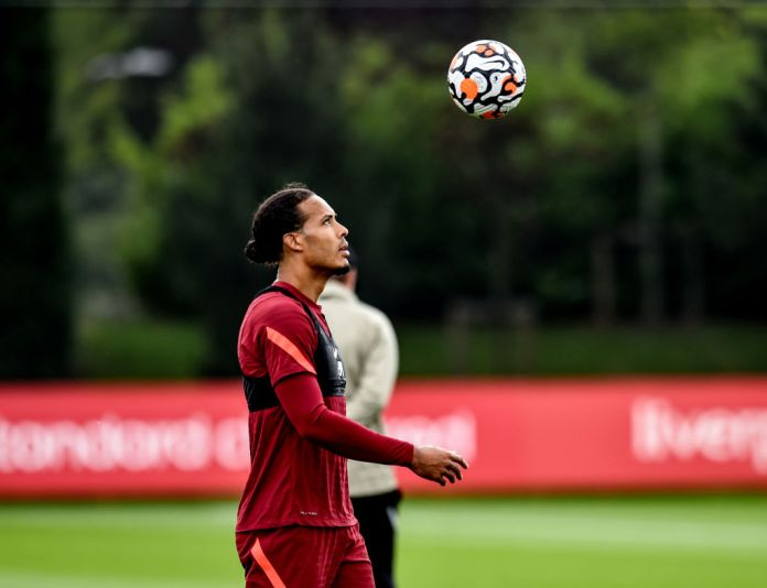 KIRKBY, ENGLAND - AUGUST 11: (THE SUN OUT, THE SUN ON SUNDAY OUT) Virgil van Dijk of Liverpool during a training session at AXA Training Centre on August 11, 2021 in Kirkby, England. (Photo by Andrew Powell/Liverpool FC via Getty Images)