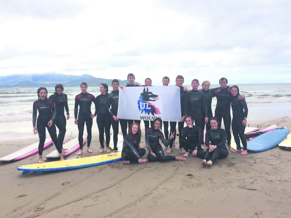 UL Surf Club members during their recent trip to Castle Gregory