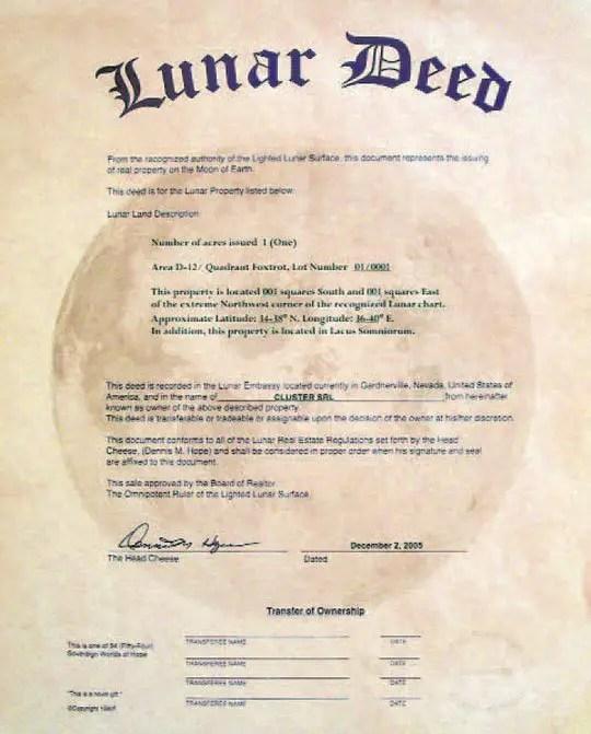 Imagen de un título de propiedad lunar.
