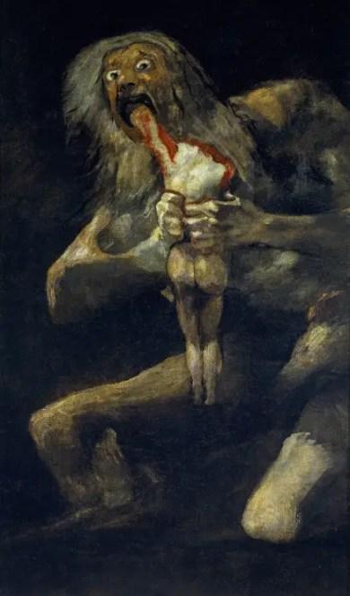 Pintura de Goya. Saturno devorando a sus hijos durante los eventos posteriores a la creación del mundo.