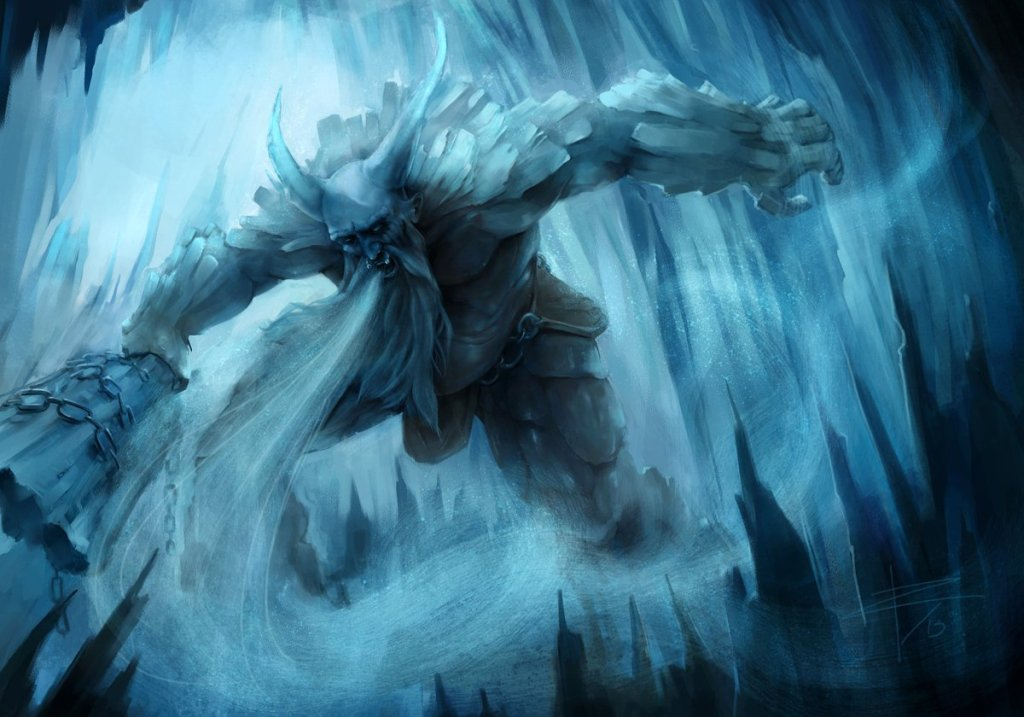 Ilustración de Ymir, el gigante hielo. Uno de los seres más importantes de la mitología nórdica