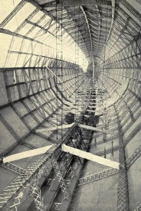 Fotografía del interior de un dirigible L30