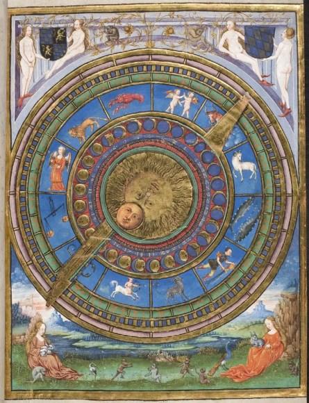 Iluminación medieval de un calendario.