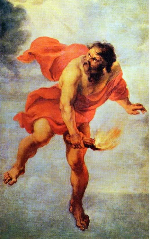El titán Prometeo roba la llama del conocimiento.