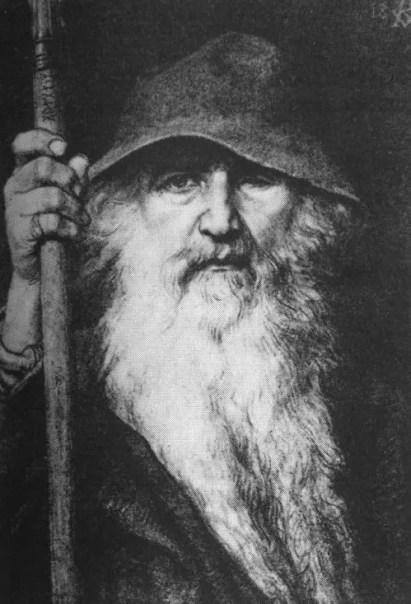 Ilustración de un viejo Odin.