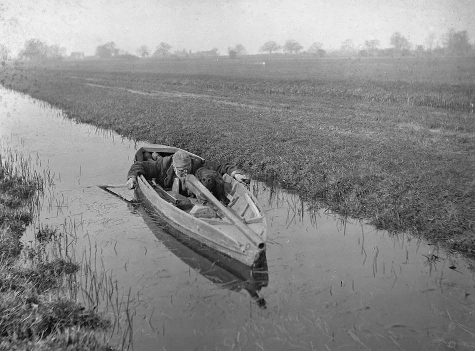 Cazador de patos en un bote con su perro apuntando su punt gun.