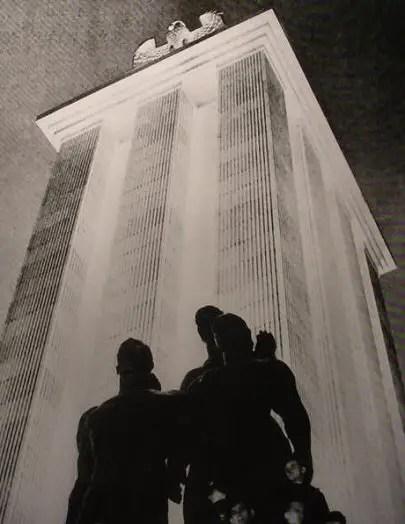 Fotografía del interior del pabellón alemana.