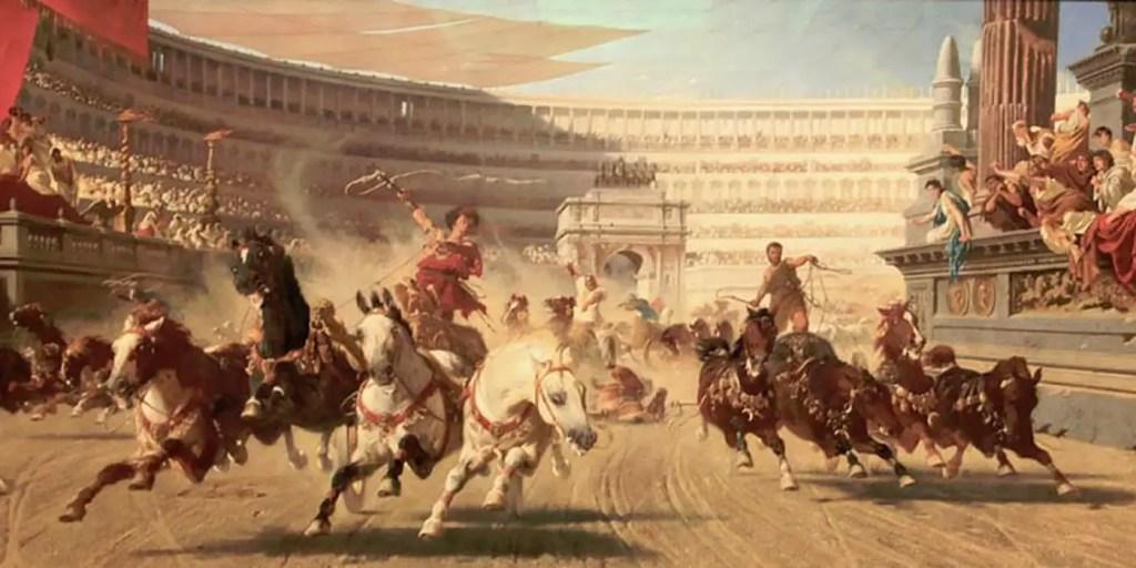 Pintura de conductores de carrozas romanos.
