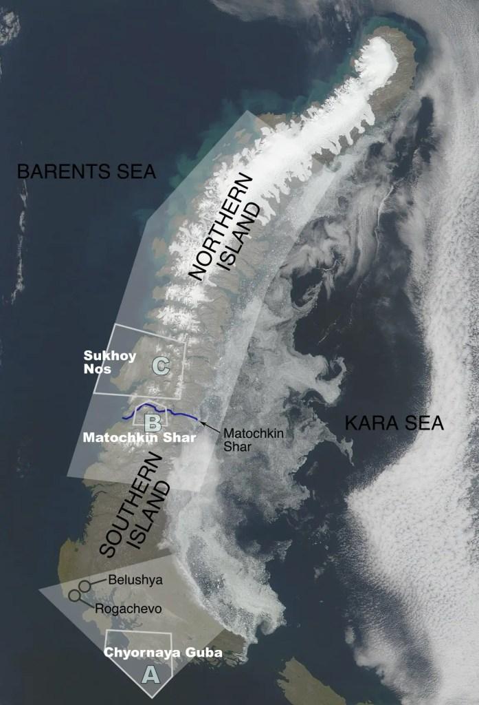 Imagen satelital de Nova Zemlaya.