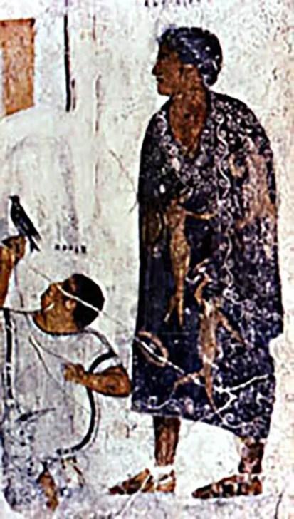 Mural romano representando una toga picta.