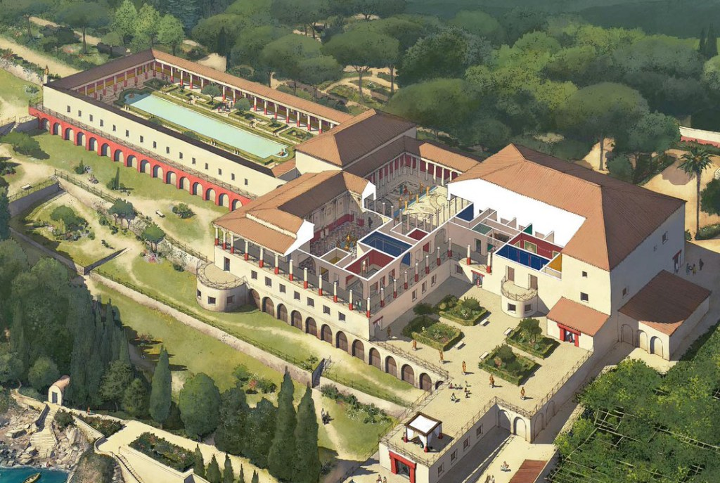 Ilustración de la Villa de los Papiros.