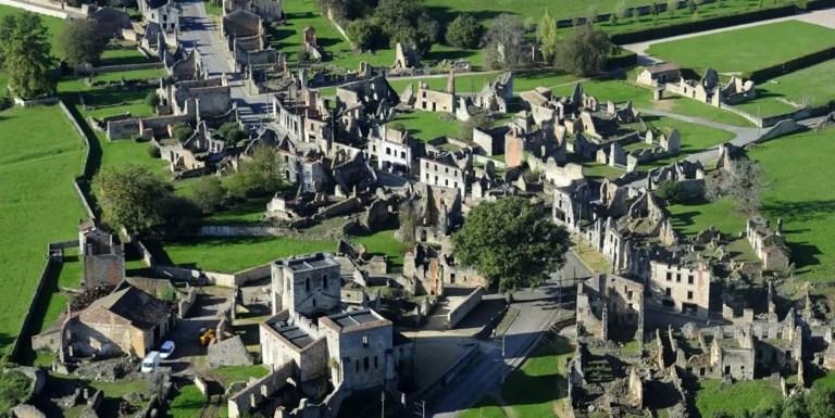 Vista aérea de las ruinas de Oradour-sur-Glane.