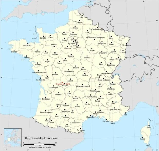 Mapa de Ruinas de Oradour-sur-Glane.