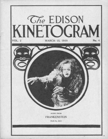 Fotografía dle antiguo póster del Frankenstein de Edison.