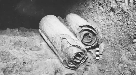 Fotografía de los manuscritos del Mar Muerto.