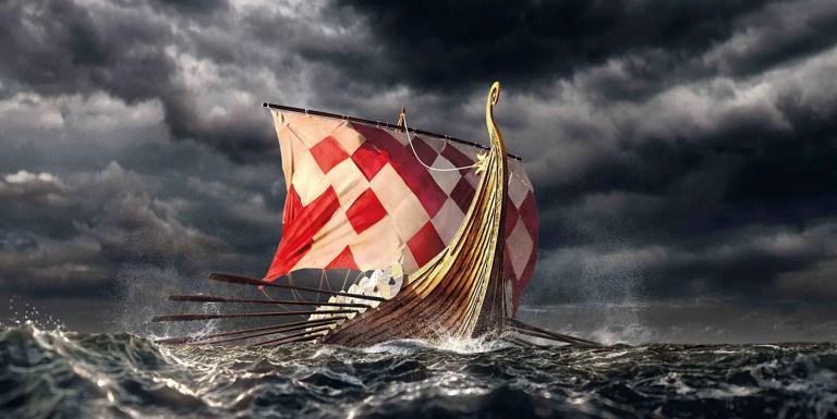Ilustración de un navío vikingo.