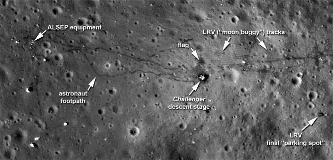 Fotografía de la superficie lunar