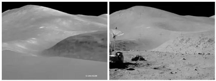 Fotografía de la superficie lunar.