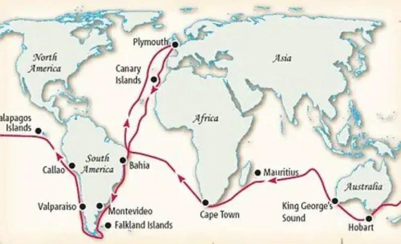 Infografía mostrando la ruta del HMS Beagle.