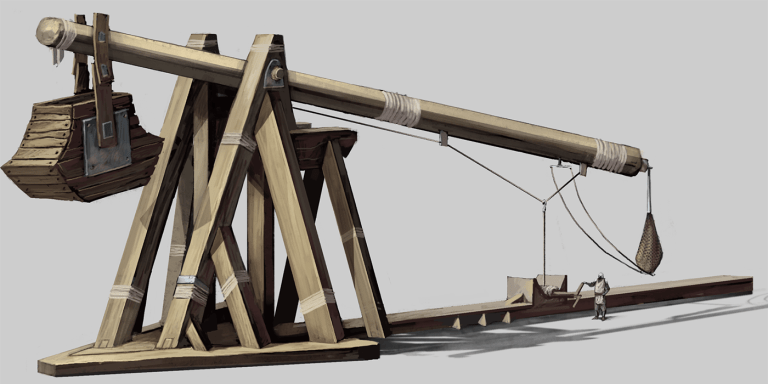 Cómo construir un trebuchet y catapulta a escala, incluye planos