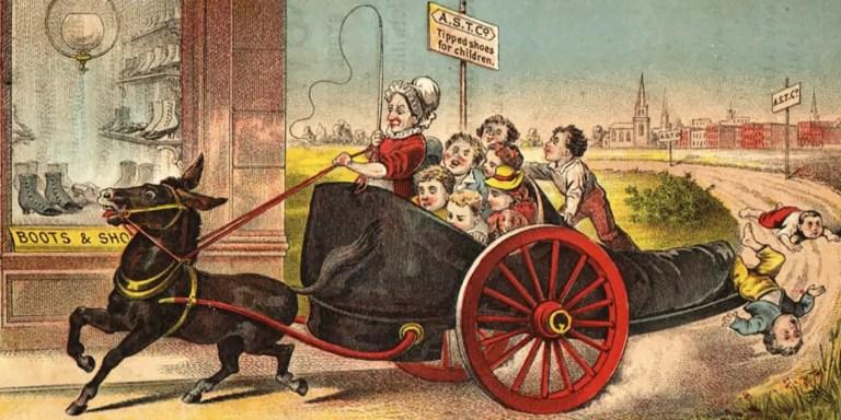 Ilustración de una madre en un carruaje.