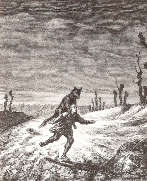 Ilustración mostrando el ataque de un hombre lobo