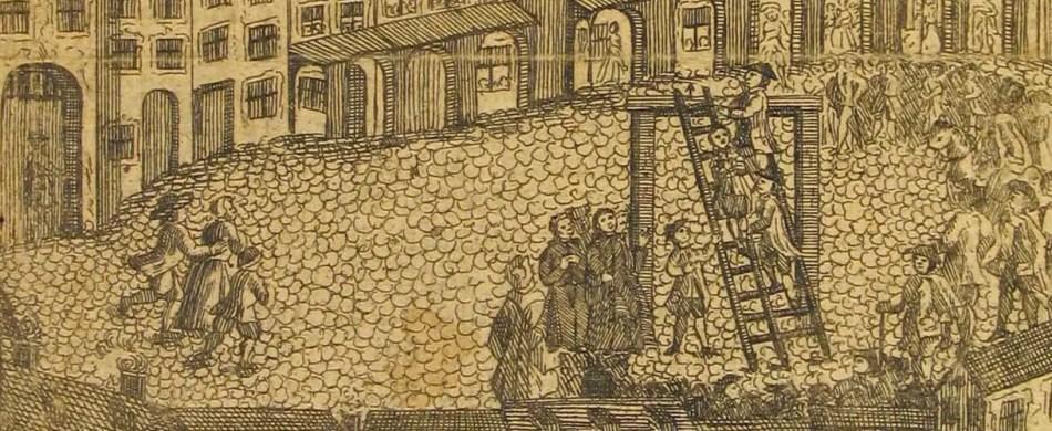 Ilustración antigua de un castigo a un hombre lobo.