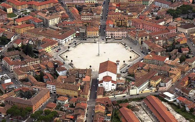 Vista aérea de Palmanova, con la plaza en el centro.