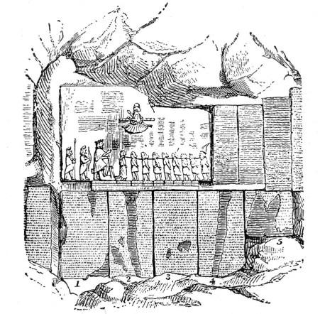 Ilustración que detalla el grabado de Behistun.