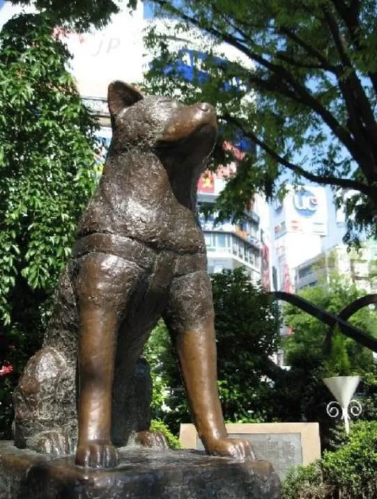 Estatua de Hachiko y su dueño.