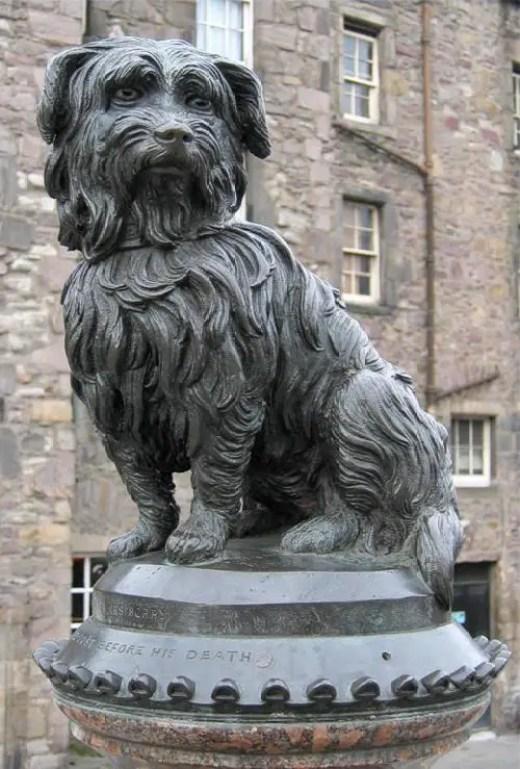 Fotografía de la estatua de Greyfriars Bobby.