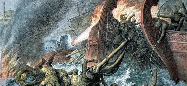 Ilustración de una batalla naval.