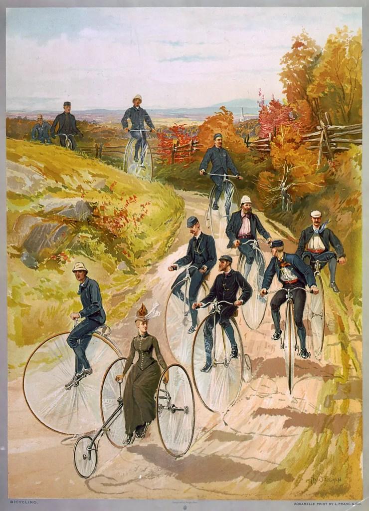 Pintura de una carrera de bicilos.