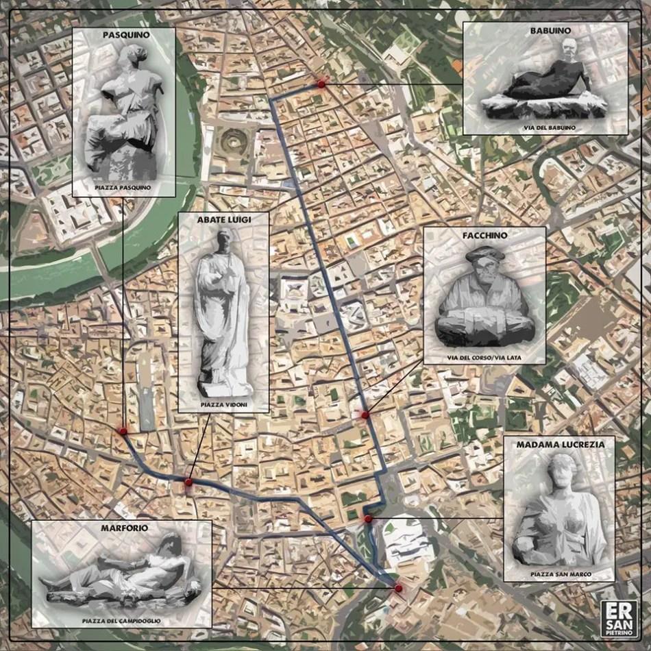 Mapa con la ubicación de las seis estatuas parlantes en Roma.