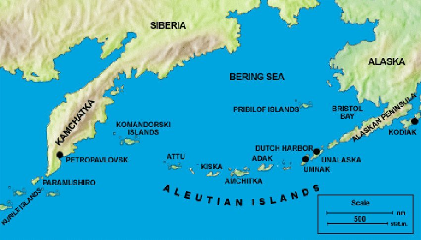 Mapa de las islas auletianas. En Kiska tendría lugar la Operación Cottage.