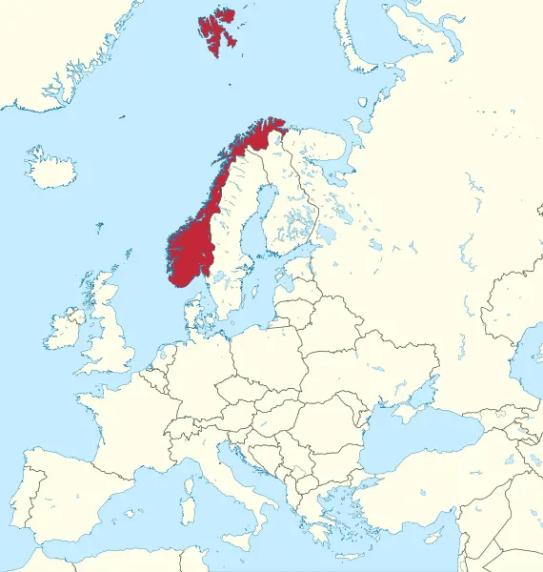 Mapa de Noruega y Svalbard.