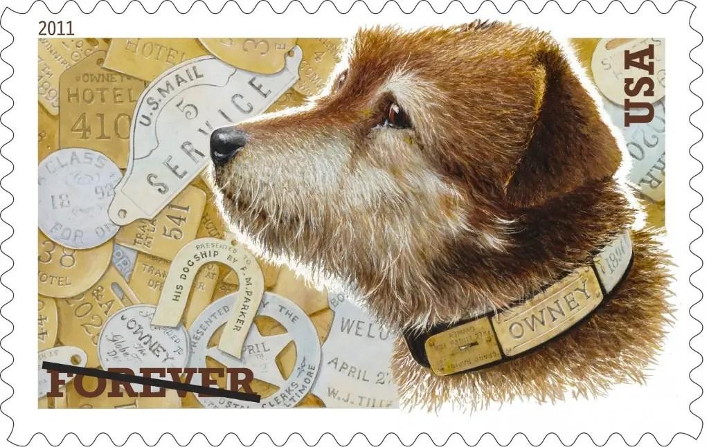Postal de Owney, el perro viajero.