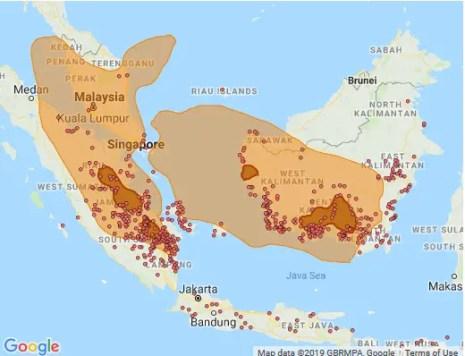 Mapa del sudeste asiático y la extensión del cielo rojo en Indonesia