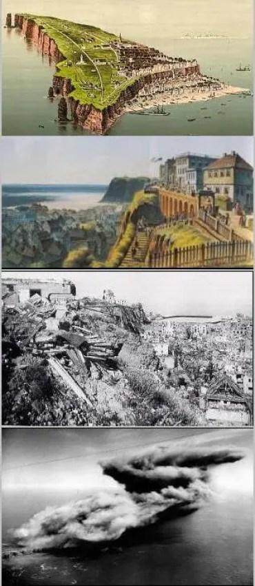 Esquema de imágenes con la historia de la isla Heligoland desde su colonización hasta el British Bang.