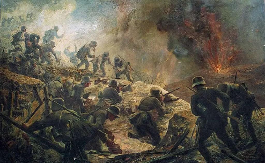 Pintura de una batalla de trincheras.