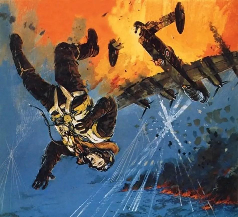 Ilustración de la caída de Nicholas Alkemade.