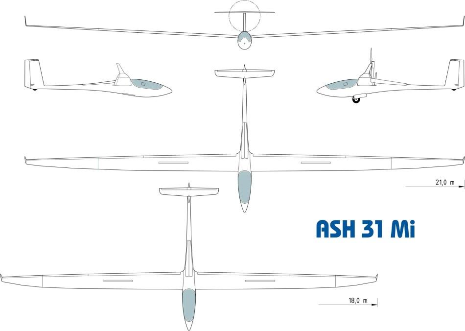 Esquema de un Schleicher ASH 25.