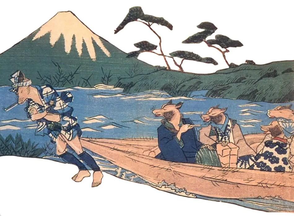 Grabado japonés de un tanuki.